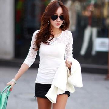 TE8992WMSS Korean fashion lace splicing slim backing T-shirt white