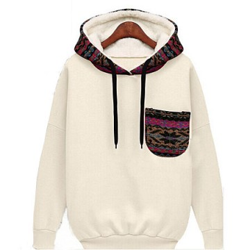 TE8959PDL Europe style loose pocket hooded pullover sweatshirt apricot