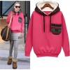 TE8959PDL Europe style loose pocket hooded pullover sweatshirt rose