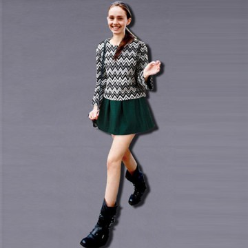 TE8012YYF Europe fashion weave pattern tops with skirt