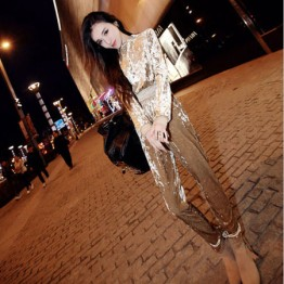 TE6027YZL Europe fashion velvet long sleeve tops with pants