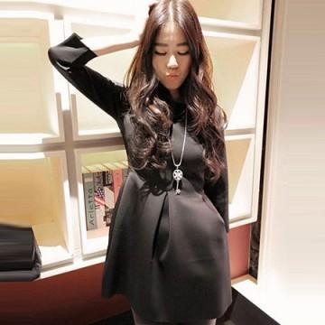 TE807SSKN Korean fashion three quarter sleeve bubble dress black
