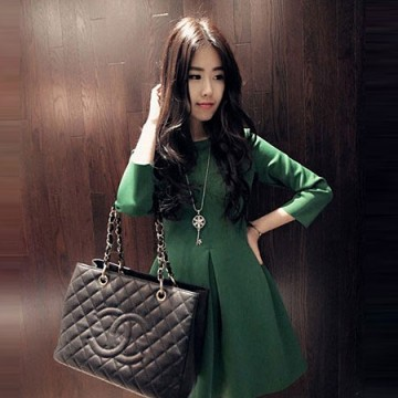 TE807SSKN Korean fashion three quarter sleeve bubble dress green