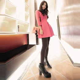 TE807SSKN Korean fashion three quarter sleeve bubble dress red