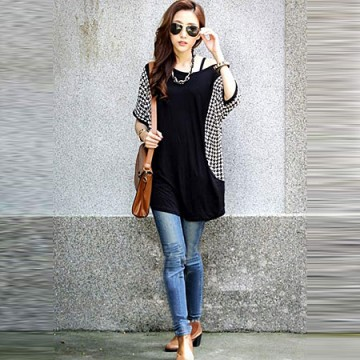 TE59201BLJL Houndstooth sleeve casual T-shirt black