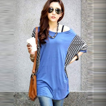 TE59202BLJL Houndstooth sleeve casual T-shirt blue