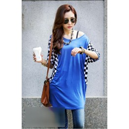 TE59208BLJL Checkerboard pattern flying squirrel sleeve casual T-shirt blue