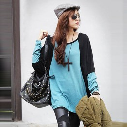 TE59217BLJL Color matching casual long sleeve T-shirt