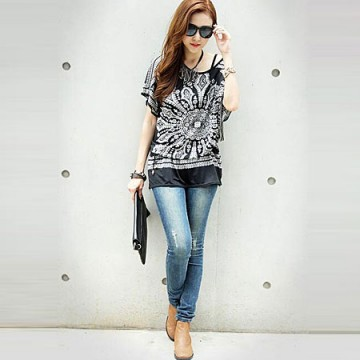 J41916 Nation style print pattern batwing sleeve T-shirt