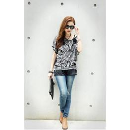 TE59212BLJL Nation style print pattern batwing sleeve T-shirt