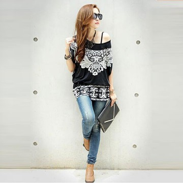 TE59213BLJL Totem print lacing waist casual T-shirt black