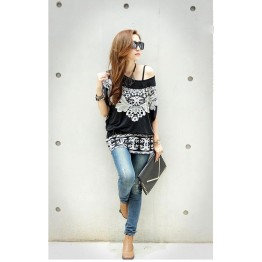 TE59213BLJL Totem print lacing waist casual T-shirt black