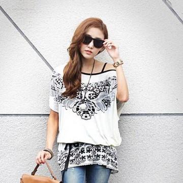 TE59214BLJL Totem print lacing waist casual T-shirt white