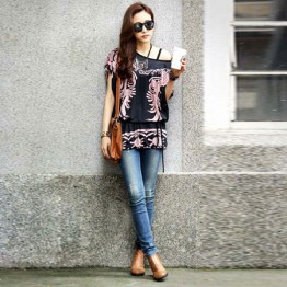 TE59216BLJL Autumn print lacing waist casual T-shirt