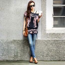 TE59216BLJL Autumn print lacing waist casual T-shirt