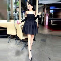 TE6030YZL Europe style grenadine splicing slim waist dress