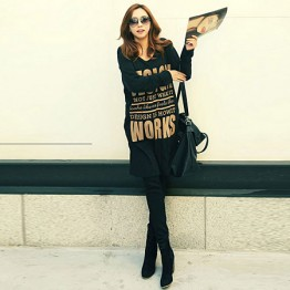 TE9827AYY Korean fashion letters printing loose long sweatshirt