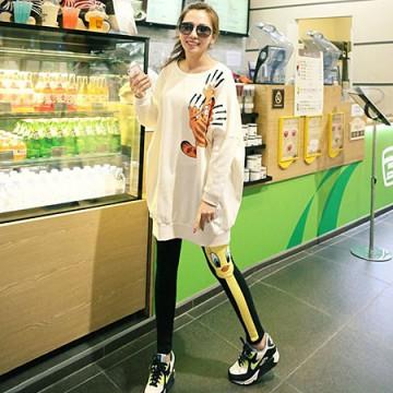 TE9829AYY Korean fashion cat printing thicken fleece pullover sweatshirt