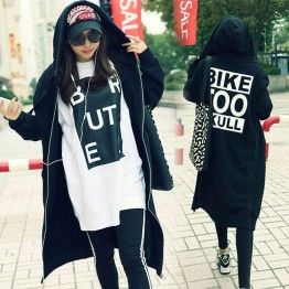 TE9831AYY Korean fashion letters printing back long zipper up hoodies black