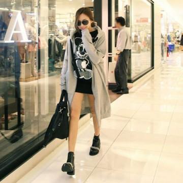 TE9831AYY Korean fashion letters printing back long zipper up hoodies grey