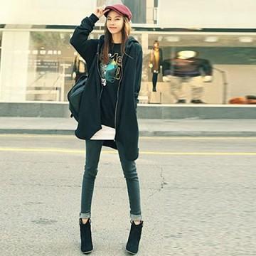 TE9753AYY Korean fashion crown skull casual loose zipper up hoodies