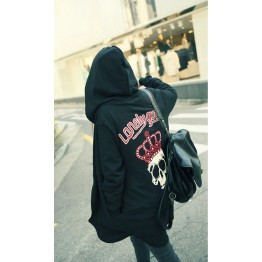 TE9753AYY Korean fashion crown skull casual loose zipper up hoodies