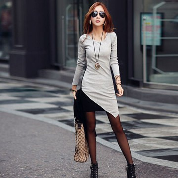 TE8635XYZ Korean fashion slim fashion backing long t-shirt dress