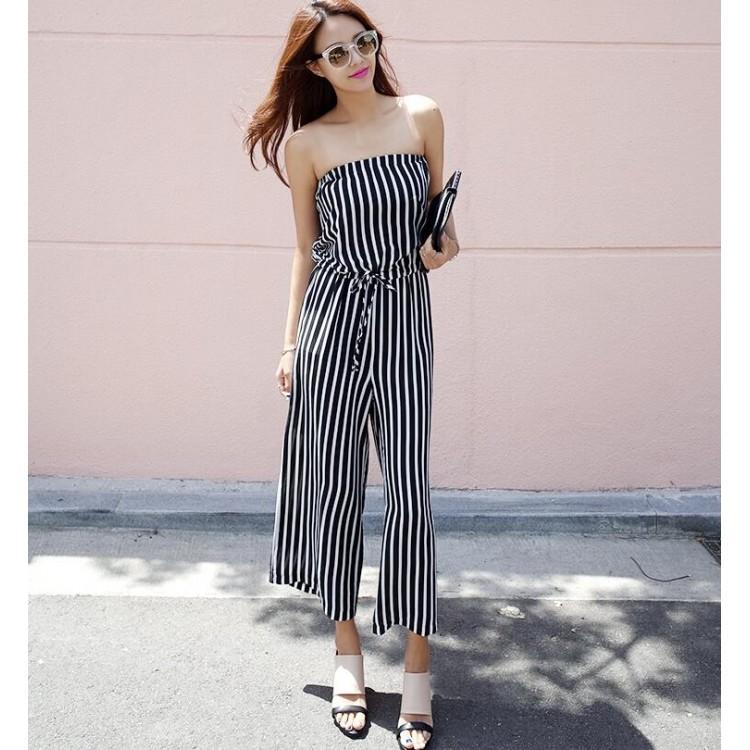 TE6405YZS Korean fashion stripes tube top empire waist ...