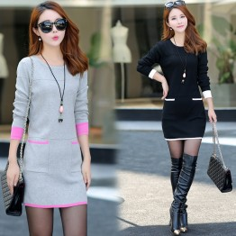 9189 fashion stripes loose knitted dress