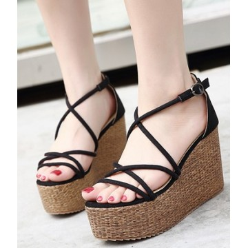 Summer new beige Roman hollow banded high-heeled sandals female slope with waterproof platform outdoor travel sandals open toe