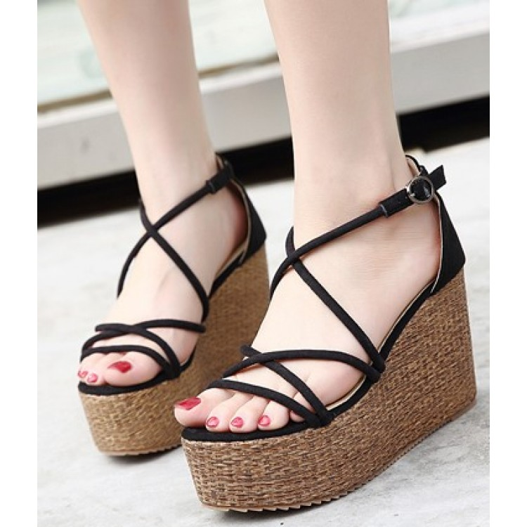 424d2d997a211d Summer new beige Roman hollow banded high-heeled sandals female slope with  waterproof platform outdoor