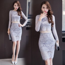 7033 sexy lace long sleeve tops with tight hip skirt