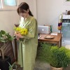 early autumn new kiwi green pockets loose version of long paragraph shirt dress 2073