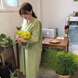 2073 kiwi green pockets loose long shirt dress