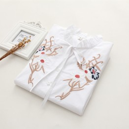 6907 loose long sleeves lace flower embroidery cotton shirt
