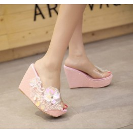 Thick wedge heel pearl diamond flowers slipper