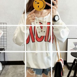 2017 autumn and winter new Korean fashion loose students wild short  tie  sweatshirt