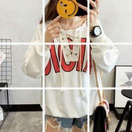 2017 autumn and winter new Korean fashion loose students wild short tie sweatshirt