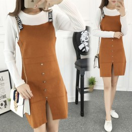8615 new Korean fashion knitting letter worn knitting vest dress