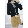 Real shot 2017 autumn and winter new Korean version of the bow tie Slim was thin sets of long-sleeved leather sweater 815