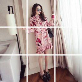530 # new Korean fashion trumpet sleeve lotus leaf floral dress