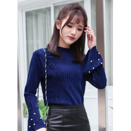 9001 Fashion trumpet long-sleeved temperament bottoming shirt