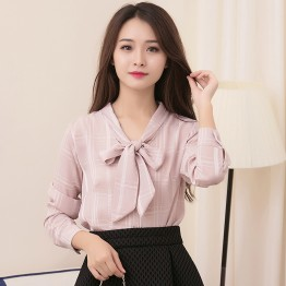 Real shot 2017 spring new lace lattice loose bow tie woman long sleeve backing shirt
