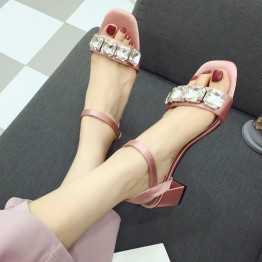 2017 summer new sandals female Korean side square silk face wild high heels word buckle diamond rough with female sandals
