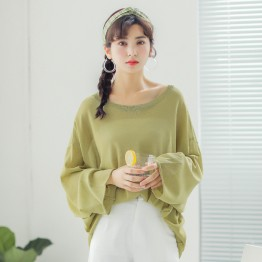 232 real shot new loose thin sweater round neck long sleeve blouse