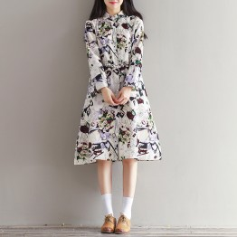 0901 art retro cotton and linen printed school long sleeve dress