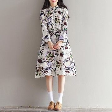 [Real shot] Spring and Autumn new art retro cotton and linen printed school long sleeve dress 0901 #