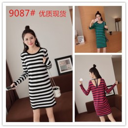 9087 Korean fashion stripes long sleeve dress