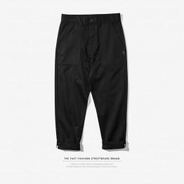 2017 Autumn simple  color pure cotton stitching  brand  basic  casual  pants men