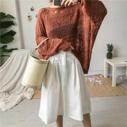 Real shot price of Hong Kong taste ulzzang retro loose lantern sleeves knitted sunscreen shirt women